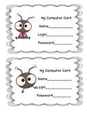Computer Login and Password Cards
