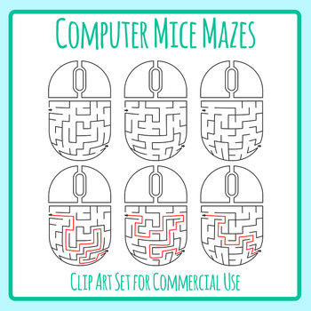 Computer Mice / Technology Mazes with Solutions Clip Art Set Commercial Use