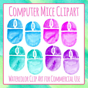 Computer Mice Watercolor Handpainted Clip Art Set for Commercial Use