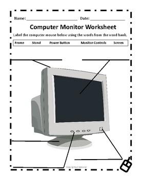 Computer Monitor Worksheet by Deans INK   Teachers Pay Teachers