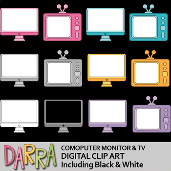 Computer Monitor and TV clip art - Electronic Television clipart