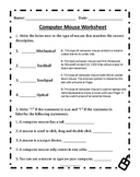 Computer Mouse Worksheet