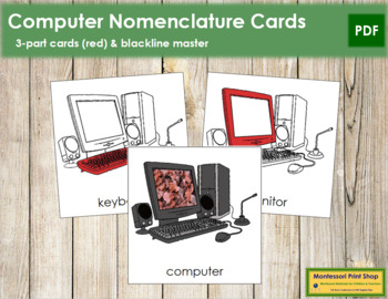 Computer Nomenclature Cards (Red)