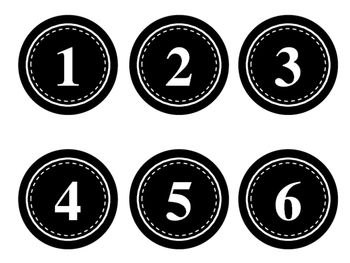 Numbers Labels/Tags (Computer Monitors, Desks, Calendars...Black & White)