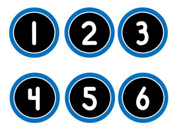 Numbers Labels/Tags (Computer Monitors, Desks, Calendars...Blue &  Black)