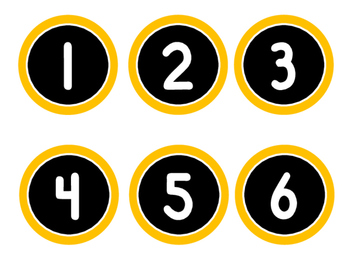 Numbers Labels/Tags (Computer Monitors, Desks, Calendars...Yellow Gold & Black)