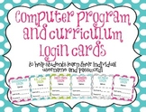 *EDITABLE* Computer Program Student Username and Password Log in Cards