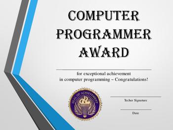 Computer Programmer Award