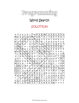 Computer Programming Vocabulary Word Search