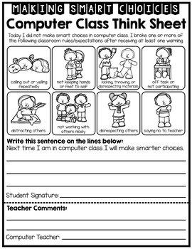 Computer Room Student Reflection - Behavior - Think Sheet