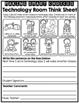 Computer / Technology Room Student Reflection - Behavior - Think Sheet