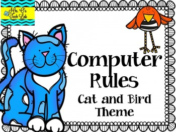 Computer Rules Cat and Bird Theme Posters