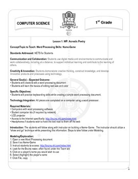 Computer Science Grade 1 - Lesson 1 WP Acrostic Poetry