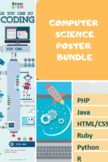 Computer Science Poster Bundle Set of 5 (distance learning