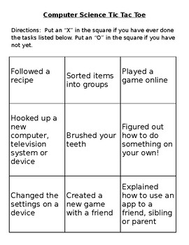 Computer Science Tic Tac Toe Activity Game Introduction to Coding EDITABLE
