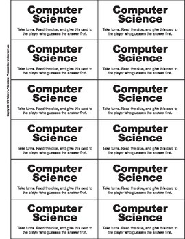 Computer Science Vocabulary Card Game