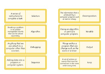 Computer Science Vocabulary Loop Game