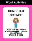 Computer Science - Word Search, Word Scramble,  Secret Cod