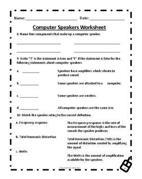 Computer Speakers Worksheet