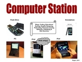 Elementary Literacy Center Sign: Computer Station: