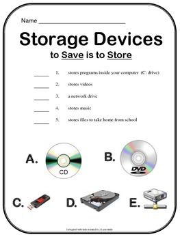 Computer Storage Devices Worksheet