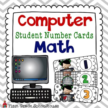 Computer Student Number Cards Math