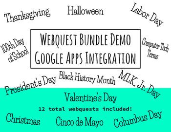 Computer Tech Webquest Bundle - Google Apps Integration, Set of 12