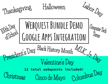 Computer Tech Webquest Bundle - Google Apps Integration, Set of 12