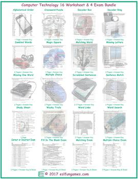 Computer Technology 16 Worksheet- 4 Exam Bundle