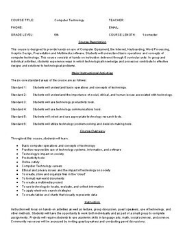 Computer Technology 6th grade syllabus - Fully Editable in Google DOCS