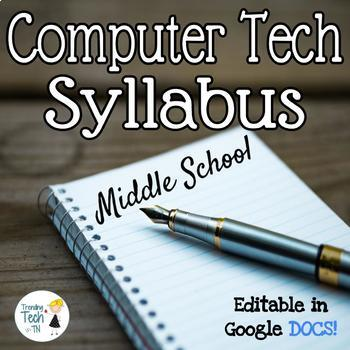 Computer Technology 6th grade syllabus - Fully Editable in