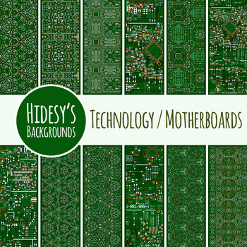 Computer Technology / Circuit Board / Motherboard Backgrounds / Digital Papers