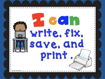 "Computer Technology ""I Can""  Statement Posters for Kindergarten"