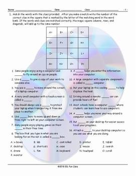 Computer Technology Magic Square Worksheet