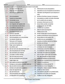 Computer Technology Sentence Match Spanish Worksheet