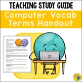 Computer Technology Terms - Terminology and Vocabulary Handout - Study Guide