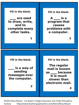Computer Terminology Vocabulary Matching Game
