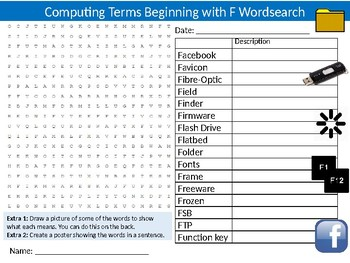 Computer Terms Beginning With F Wordsearch Sheet Starter Keywords Computing