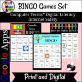 Computer Terms, Internet Safety, Digital Literacy BINGO Games Trio Bundle