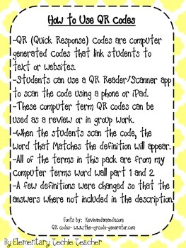 Computer Terms QR Codes