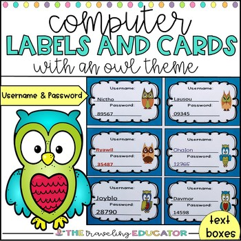 Computer Username and Password Cards (editable) owl theme