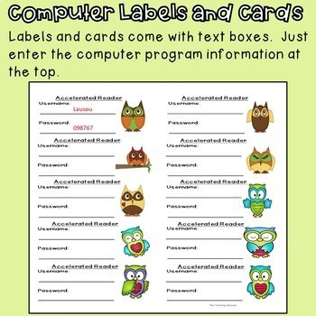 Computer Login Labels and Cards (Owl Theme)