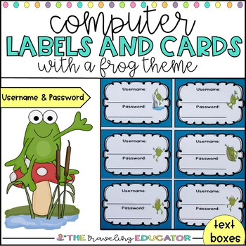Computer Username and Password Cards (frog theme)