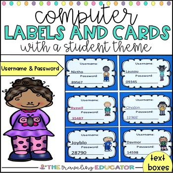 Computer Username and Password Stickers (Student Theme)