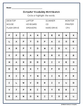 FREE Computer Vocabulary Terms Word Search