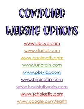 Computer Website Options