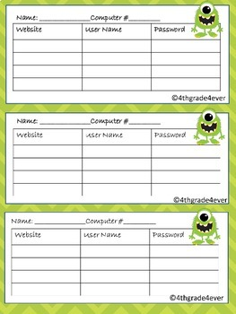 Computer Website User Name and Password Reminder Cards