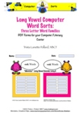 Word Sorts: Long Vowel Three Letter Word Families (Computer Sampler)