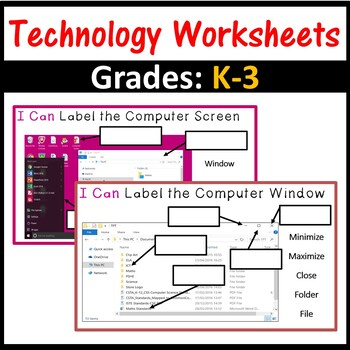 Computer Worksheets – Grades K-3 (ISTE 2016 Aligned)