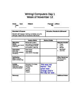 Computer Writing Lesson Plans